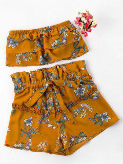 Floral Tube Top With Ruffle Shorts Set - Bee Yellow L