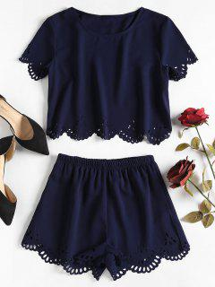 Laser Cut Top Shorts Two Piece Set - Deep Blue L