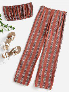 Striped Bandeau Pants Set - Chestnut M