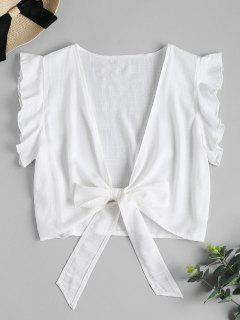 Tie Knot Ruffle Sleeve Crop Top - White M