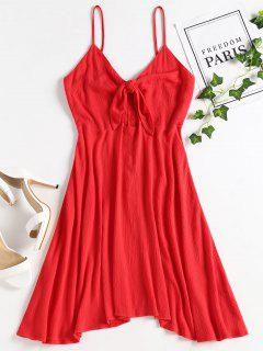 Tie Front Cut Out Cami Dress - Red M