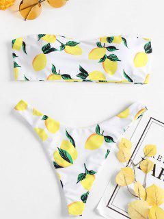Zitrone Druck Tanga Bikini - Weiß L