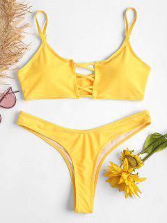 Crisscross Thong Bikini Set - Yellow S