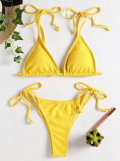 Krawatte Schulter String Bikini - Niedliches Gummi Gelb S