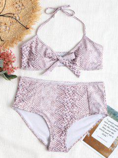 Bowtie Plus Size High Waisted Bikini Set - Multi 2x