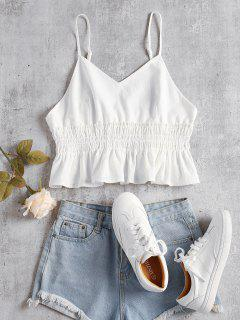 Smocked Frilled Cami Tank Top - White L