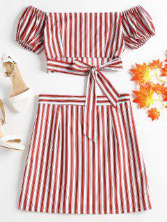 Striped Off Shoulder Skirt Set - Love Red M