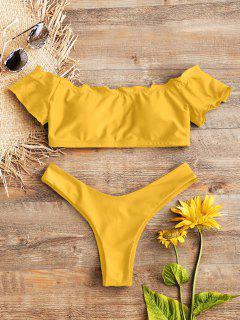 Bikini En String à Epaules Dénudées Et Motif De Laitue  - Jaune D'abeille S