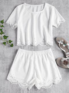 Laser Cut Top Shorts Two Piece Set - White S