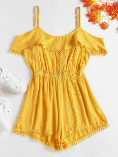 Eyelet Trim Cold Shoulder Romper - Sun Yellow M