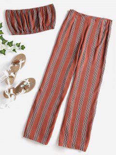 Striped Bandeau Pants Set - Chestnut M