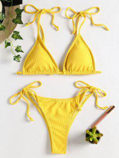 Tie Shoulder String Bikini - Rubber Ducky Yellow M