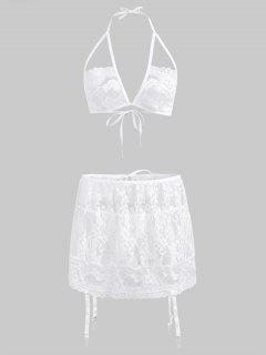 Halter Lace Bra Set And Garter Skirt - White L