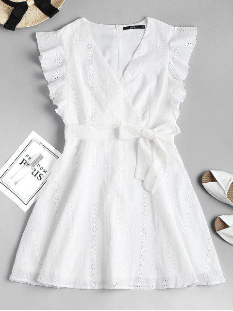trendy Ruffle Broderie Anglaise Party Dress - WHITE M Mobile