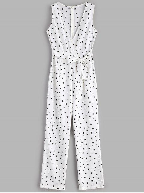 Polka Dot Wide Leg Palazzo Jumpsuit - Blanco L Mobile