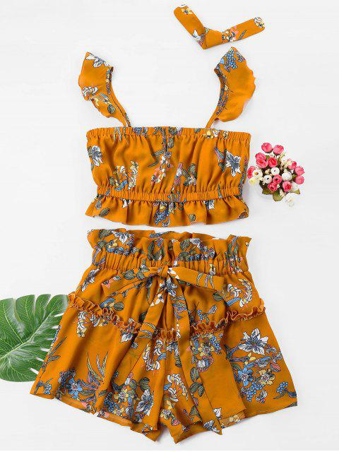 fancy Floral Crop Top with Drawstring Shorts Set - BEE YELLOW XL Mobile