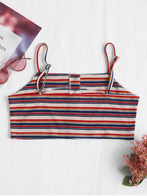 women Snap Button Stripes Tank Top - RED L Mobile