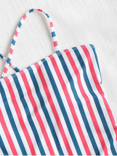 sale Contrast Striped High Leg Swimsuit - MULTI M Mobile
