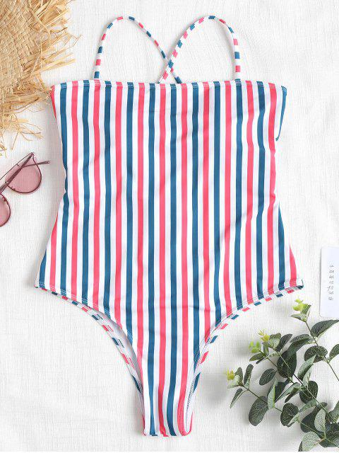 Kontrast Gestreifter Hohes Bein Swimsuit - Multi L Mobile