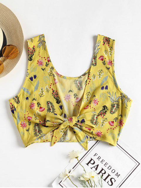 chic Floral Tie Front Tank Top - YELLOW S Mobile