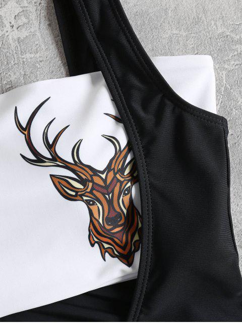 latest Low Cut Swimsuit and Deer Head Bandeau Top - BLACK L Mobile