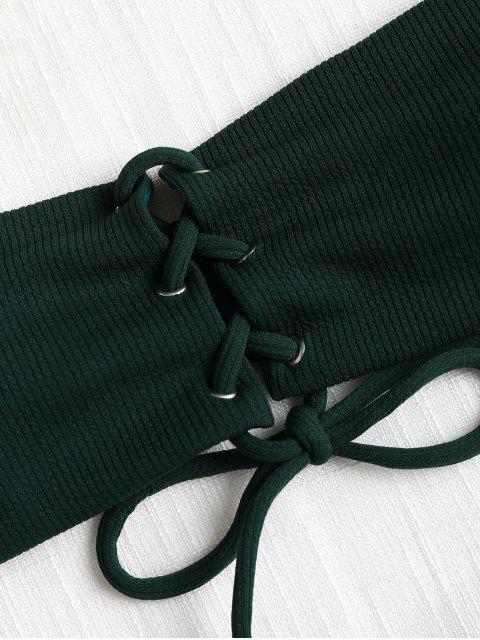 Bandeau Lace Up Bikini Top y Tanga Bottoms - Mar Verde Mediana S Mobile