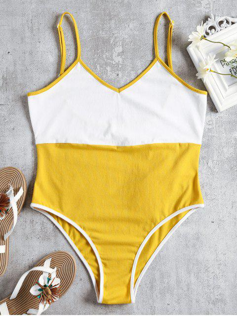 shop Two Tone Cami Bodysuit - YELLOW M Mobile