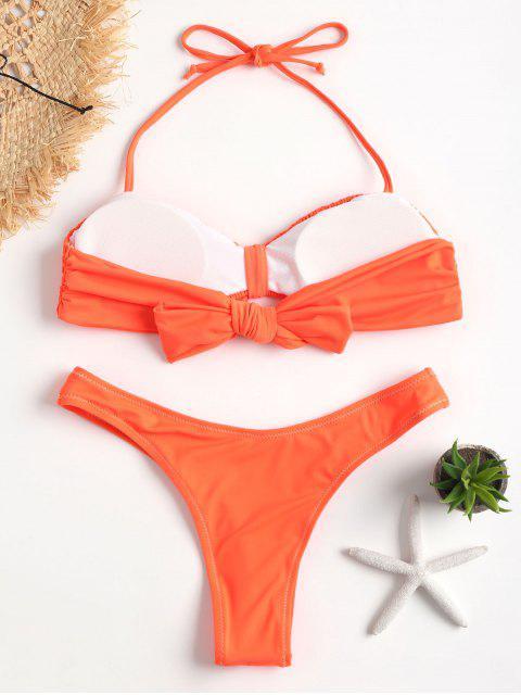 outfit Neon Knot High Cut Smocked Bikini - DARK ORANGE L Mobile