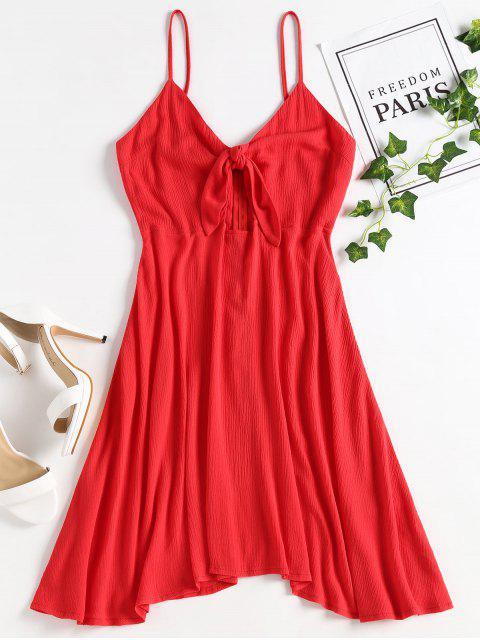 unique Tie Front Cut Out Cami Dress - RED L Mobile
