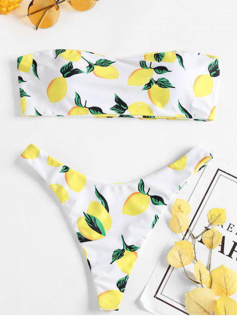 Zitrone Druck Tanga Bikini - Weiß S Mobile