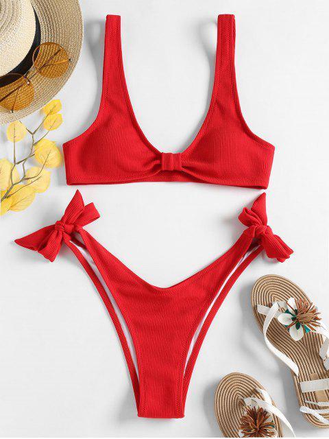 Gerippter Riemchen Seitlicher Hohes Bein Bikini Set - Lava Rot S Mobile
