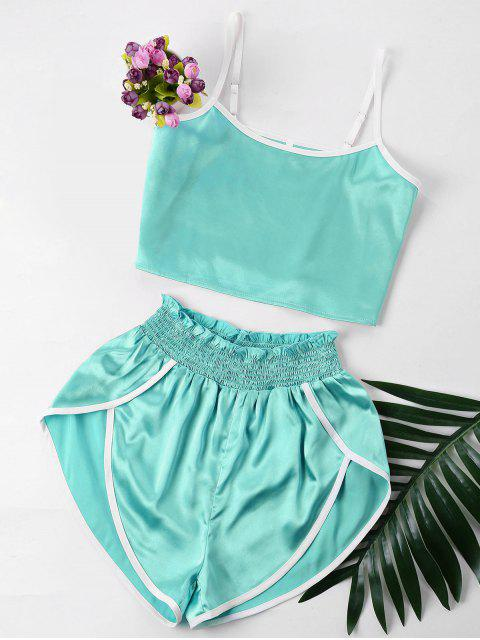 affordable Contrast Trim Cami and Shorts Set - BLUE GREEN XL Mobile