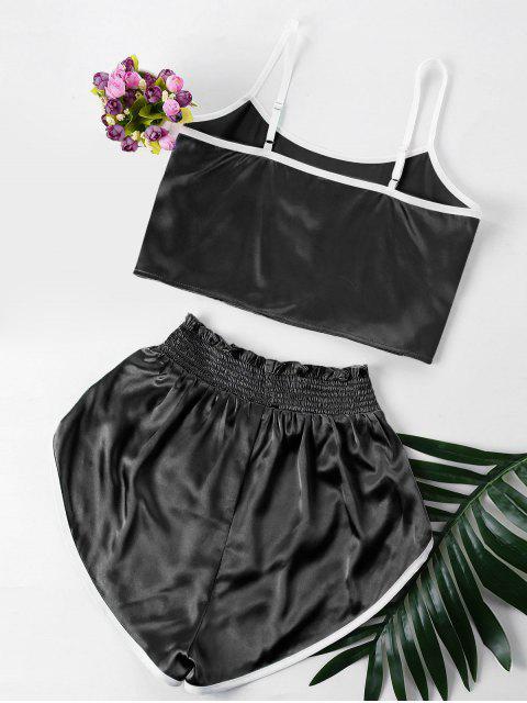 womens Contrast Trim Cami and Shorts Set - BLACK M Mobile