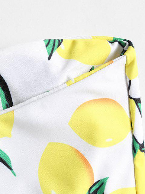 Biquíni de Tanga com Estampa de Limão - Branco L Mobile