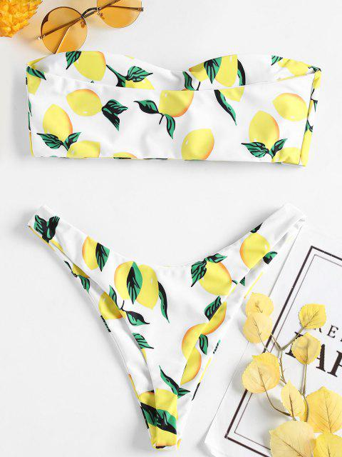 trendy Lemon Print Thong Bikini - WHITE L Mobile