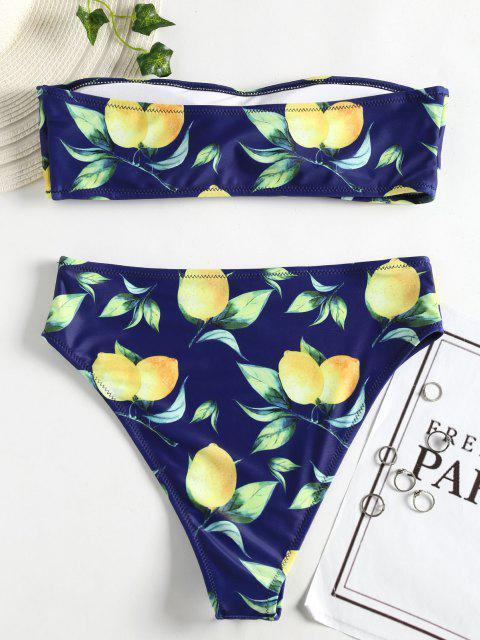 Bikini Bandeau à Imprimé Citron à Taille Haute - Bleu Foncé Toile de Jean S Mobile