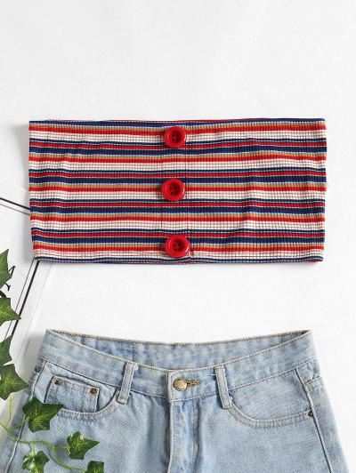 Buttons Ribbed Tube Top - Red L