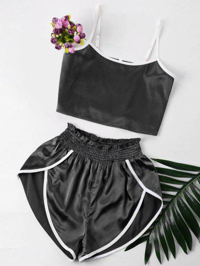 Contrast Trim Cami And Shorts Set - Black S