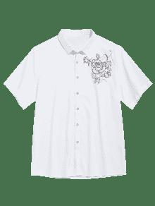Blanco Manga Xs Con Flores Camisa Corta De Estampado De 0pnwqX