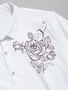 Flores De Camisa Corta Blanco Con Manga Estampado Xs De 6FaTx