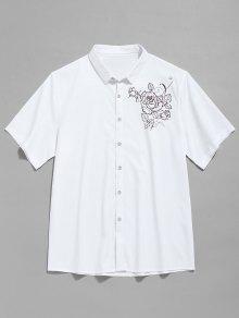 كم قصير طباعة زهرة قميص - أبيض Xs