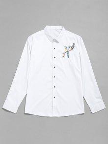 زر التطريز الطيور حتى القميص - أبيض S