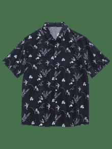 Estampado Con L Corta Flores Camisa De Negro De Manga wqtngIv