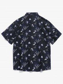 De Negro L Corta Con Camisa Estampado De Manga Flores Sqq7BR1