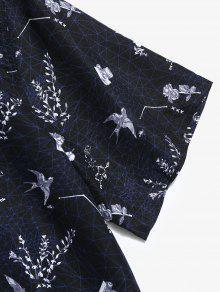 De Manga Camisa Corta Flores L Negro Con De Estampado Sq7Xfw