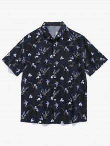 زهرة نمط قميص قصير الأكمام - أسود 2xl