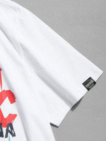 Estampada De Camiseta Letras Blanco 2xl Manga Con Corta pgpdw7qt