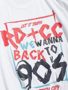 De Camiseta Corta Estampada Letras Con Blanco Manga 2xl 8xxOwp1q