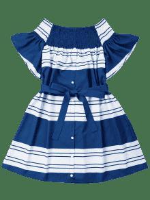 Fruncidos Con Azul Rayas Profundo Vestido A Hombros S CZEqnwd