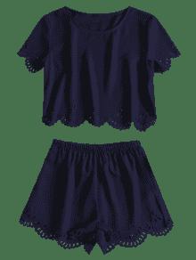 Piezas De Dos Cut Conjunto M Laser Azul Top Shorts Profundo IYawFq